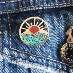 Vintage Sunrise Mountain Silver Enamel Pin